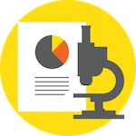 Illustration of a microscope in front of a report with a pie chart